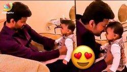 Charming Thalapathy Vijay with Adoring kid | Cute Video | Sarkar Latest News