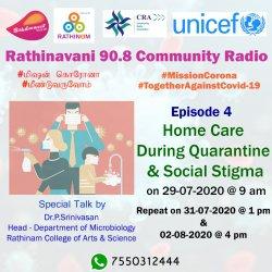 Rathinavani 90.8 CR   RCCE   UNICEF   CRA   Episode 4th   Home care during quarantine & Social Stigma   RCAS   Micro Biology   HoD   Dr. Srinivasan   Expert Talk