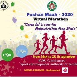 Rathinavani 90.8 Community Radio Partnership   Poshan Maah   2020   Virtual Marathon   Run is to Promote Awareness to achieve Malnutrition Free India