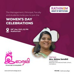 Rathinam Groups of Institution   Women's Day Celebration   Special Wishes from Mrs. Shima Sendhil   Director   Rathinam Groups of Institution