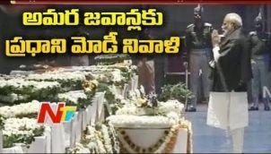 PM Narendra Modi Pays Tribute To Slain CRPF Jawans At Palam Airport, Delhi